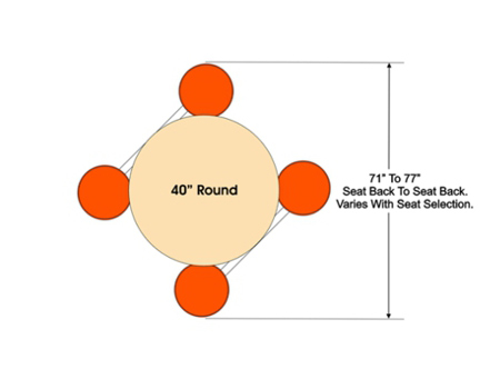 Plymold Four Seat Island Style Round Top Button Seat Cluster Seating Unit Plan View Dimensions