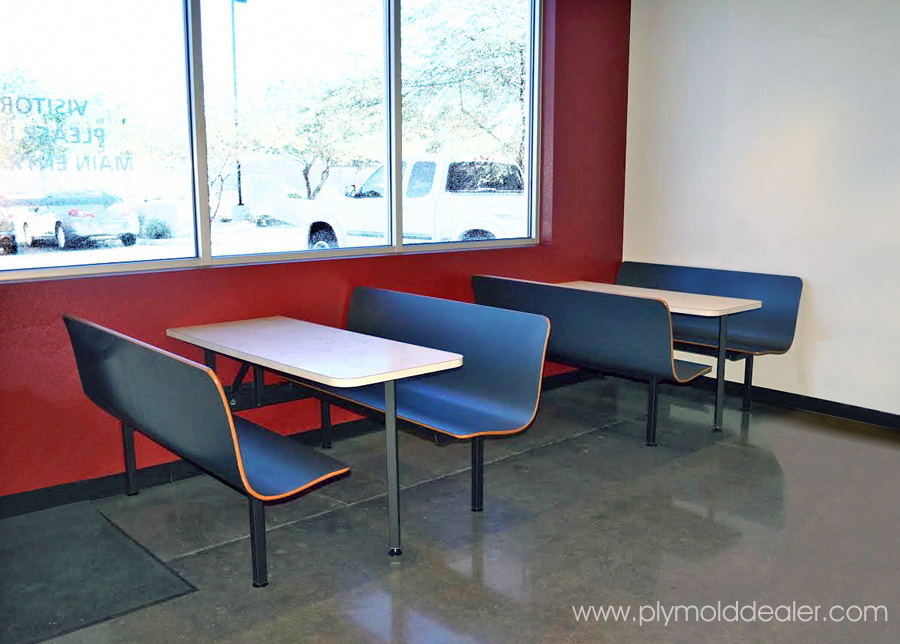 Six Seat Laminated Plastic Wall Style Booths - Factory Lunchroom