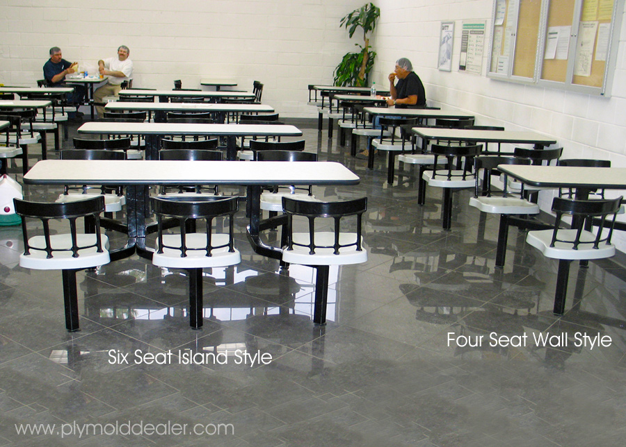 Six Seat Island Style and Four Wall Style Cebra Clusters With Country Seats - Factory Cafeteria