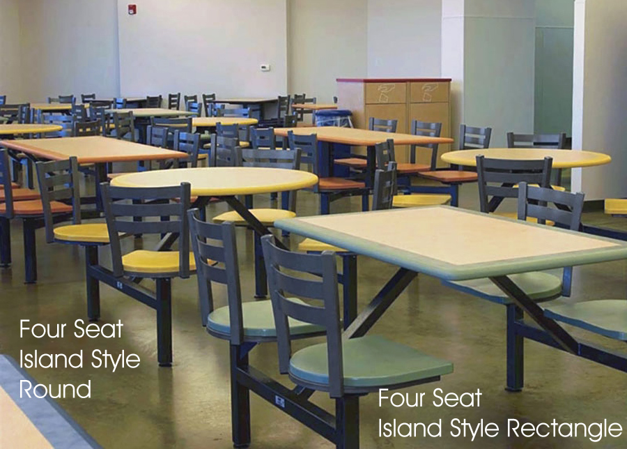 Four Seat Island Style Round and Four Island Style Jupiter Clusters With Quest Seats - School Cafeteria