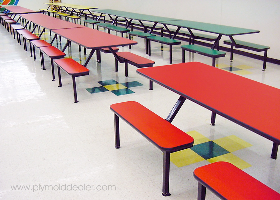 Eight Seat Island Style Laminated Plastic Flat Seat Benches - Cafeteria